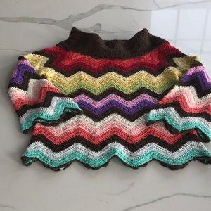 Crocheted chevron cowl neck sweater